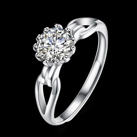 Sølv ring med blomst med zirconia sten
