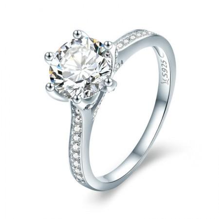 Sølv prinsesse ring med zirconia