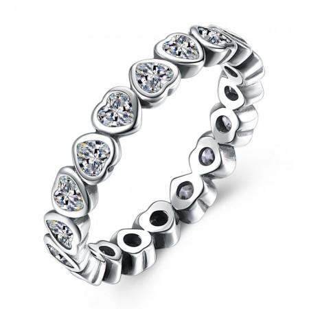 Sølv ring med hjerter med stene