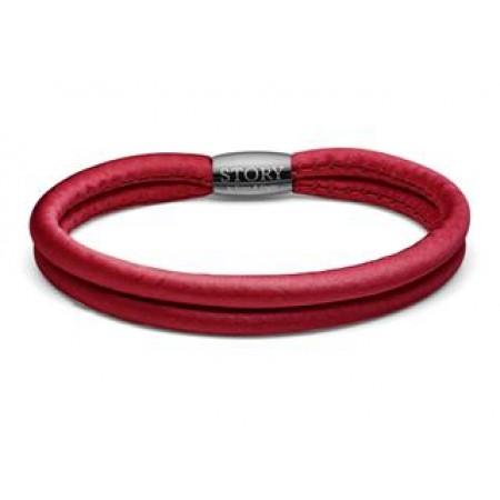 STORY singlewrap armbånd i rød silke