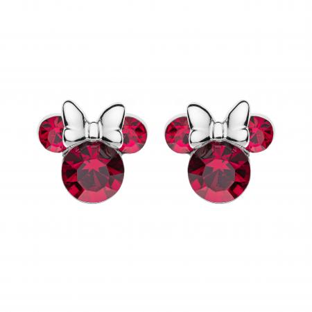 Disney Sølv ørestikker Minnie Mouse i rød med hvid sløjfe.