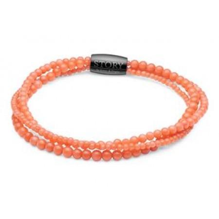 STORY stenarmbånd single, koral, Orange