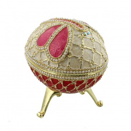 Dekorations æg, stor, rød, pink, creme.