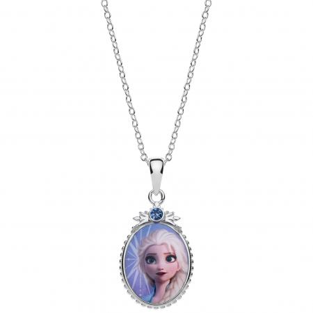 Disney Frost sølv halskæde oval med Elsa og syntetisk cubic zirconia på toppen.