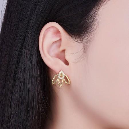 Øreringe forgyldt, dobbelt, dråbe med zirconia og blomst