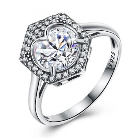 Sølv ring med hjerte og sten i hexagon