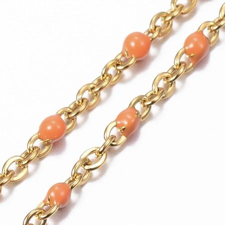 Ankelkæde i forgyldt rustfrit stål og orange emalje