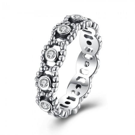 Sølv ring med flet mønster