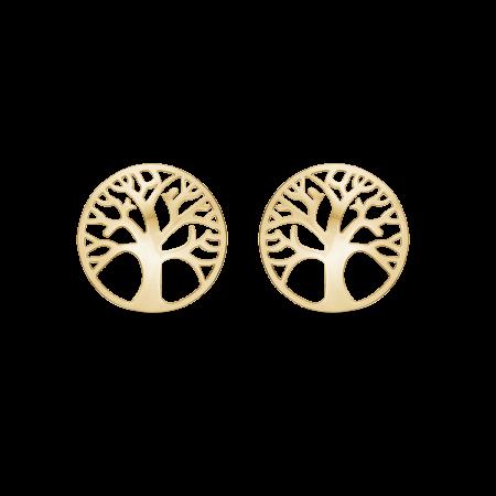 Livets Træ 8 kt. guld ørestikker Ø:10,8 mm.
