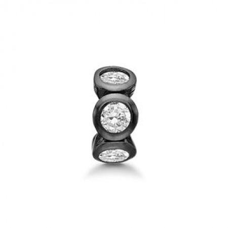 STORY Circle Ring, sort sølv
