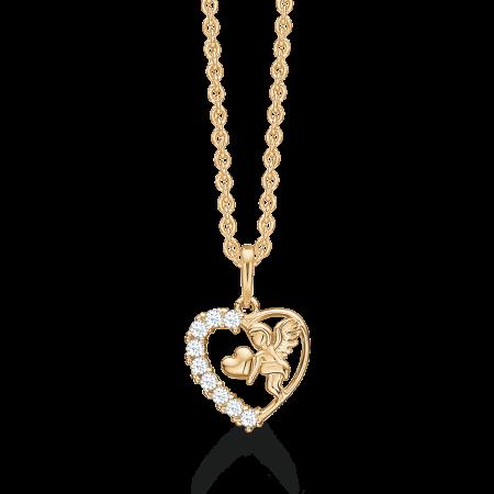 Halskæde med 8 karat hjerte og engel