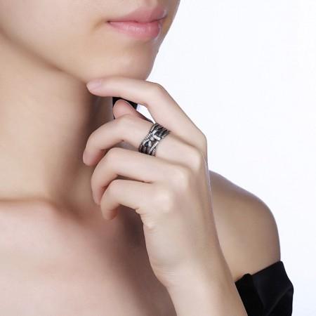 Bred sølv ring med sløjfe