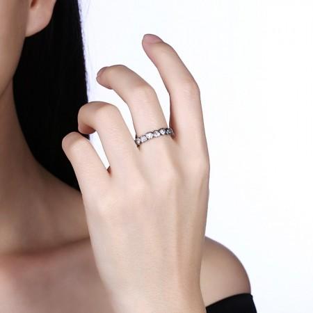 Sølv ring med hjerter med stene-01