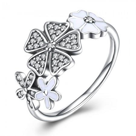 Sølvring med blomster og emalje
