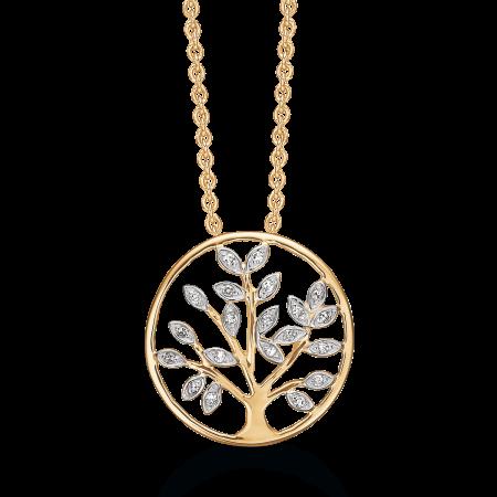 Livets Træ 14 kt. guld halskæde livets træ i cirkel med brillanter.