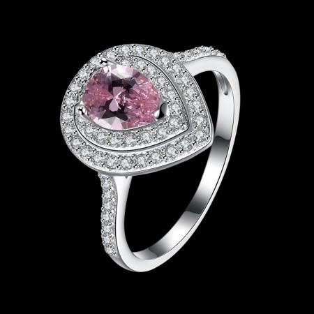 Sølv ring med pink zirconia sten
