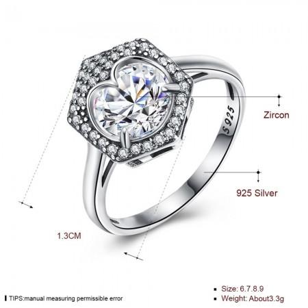 Sølv ring med hjerte sten i hexagon