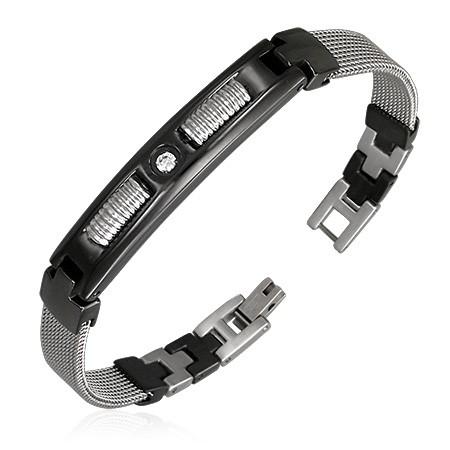 Stål armbånd med zirconia 3STBG015