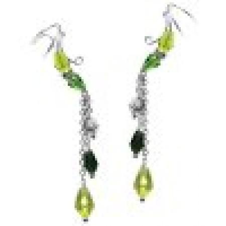 Multi Green Briolette Crystal Dangle