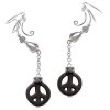 Peace Sign Black Turquoise & Crystal Dangle