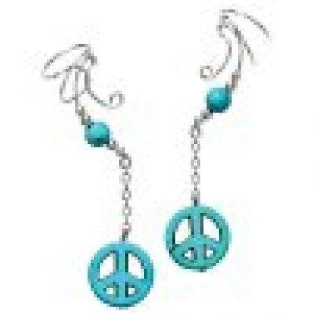 Peace Sign Turquoise Dangle