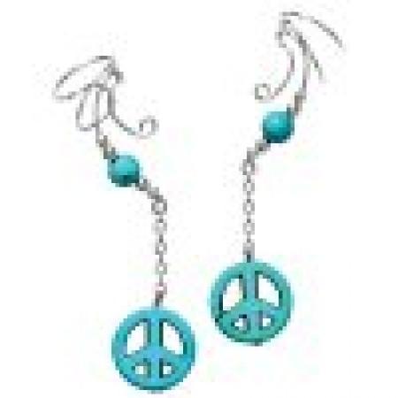 Peace Sign Turquoise Dangle