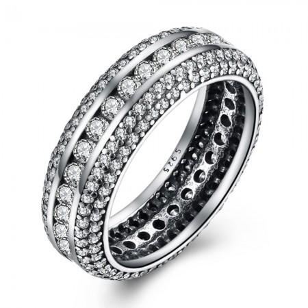 Sølv ring med stene hele vejen rundt