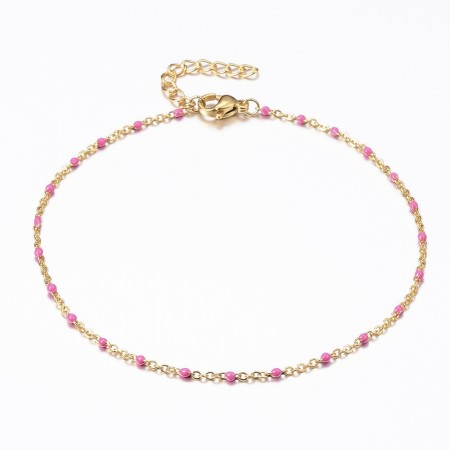 Ankelkæde med emalje-Pink