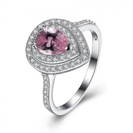 Sølv ring med pink zirconia i dråbe form