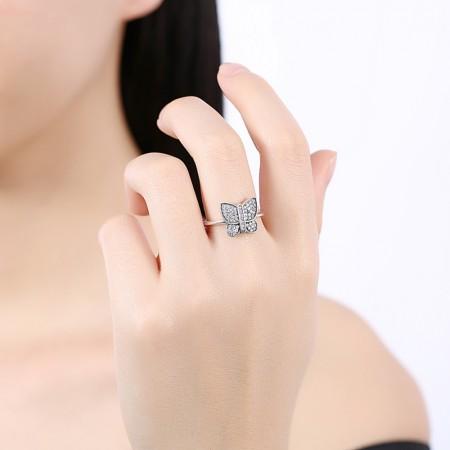 Sølv ring med sommerfugle med zirconia