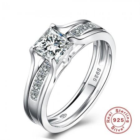 Sølv ring dobbelt med zirconia