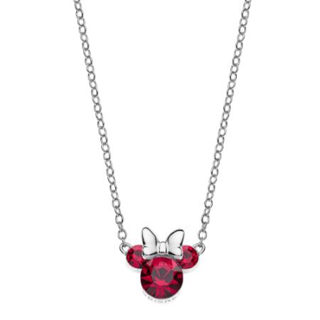 Disney sølv halskæde Minnie Mouse i rød med hvid sløjfe.