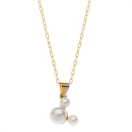 Disney 9 kt. guld halskæde Mickey Mouse med ferskvandsperle. Kæden er sølvforgyldt i længde 38 cm