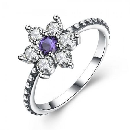 Sølv ring med blomst med stene