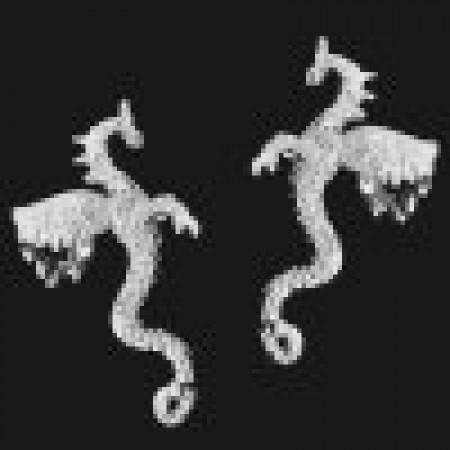 Large Dragon Sterling Silver Ear Cuffs Earrings