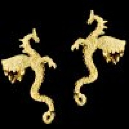 Large Dragon Gold Vermeil Ear Cuffs Earrings