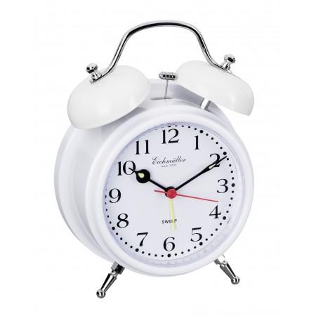 Vækkeure med klokkealarm og lydløs visere-Hvid