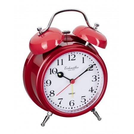 Vækkeure med klokkealarm og lydløs visere-Rød