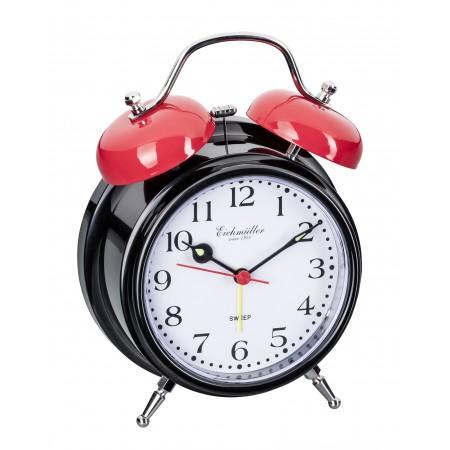 Vækkeure med klokkealarm og lydløs visere-Sort
