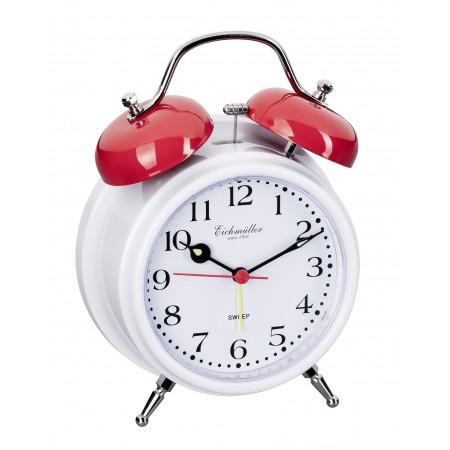 Vækkeure med klokkealarm og lydløs visere-Hvid / Rød