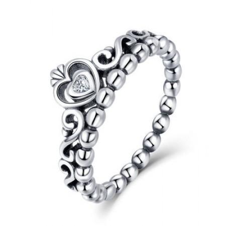 Sølv ring med krone og hjerte