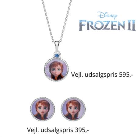 Disney Frost smykkesæt halskæde og ørestikker i sølv, vedhænget er rundt med Anna og syntetisk cubic zirconia.
