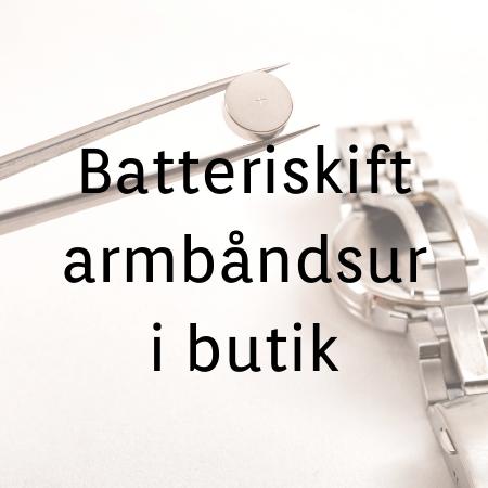 Batteriskift i armbåndsur kr. 68,- Gælder kun i vores fysiske butik.