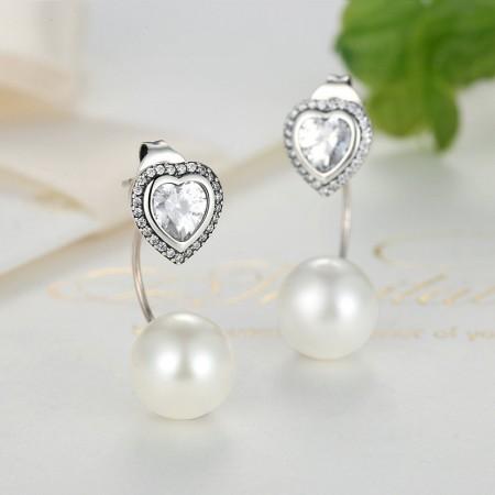 Dobbelte ørestikker i sølv med hjerte og perle