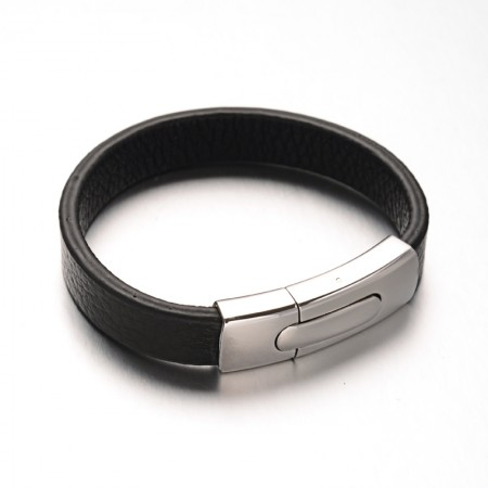 Læderarmbånd med lås i stål