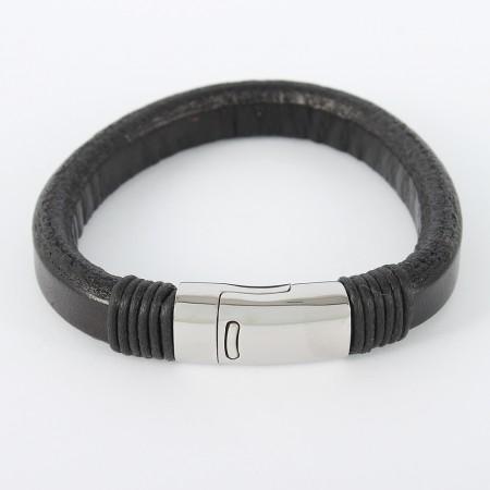 Læderarmbånd med magnetlås i stål