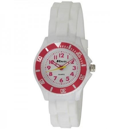 Pige ur med silicone rem - Hvid