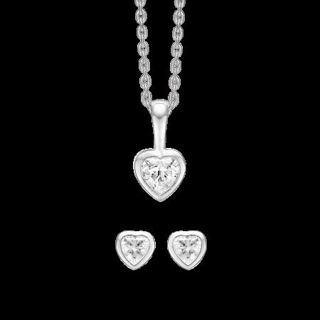 Sølv smykkesæt hjerte med syntetisk cubic zirconia.