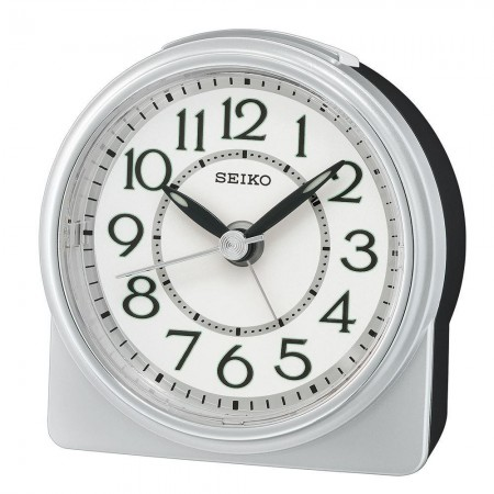Seiko vækkeur, sølv/hvid