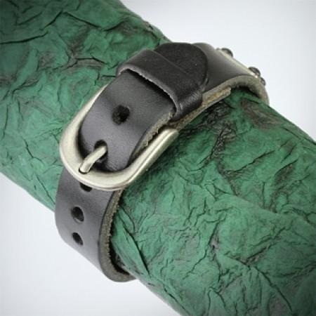 Herrearmbånd i sort læder 19-22 cm